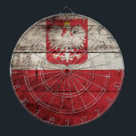"""Poland Flag on Old Wood Grain Dartboard With Darts<br><div class=""""desc"""">Poland Flag on Old Wood Grain Feel free to modify the design according to your own preferences. You may change the design location, orientation, background colors and size. Also, you may add your own text, or slogan set its font, location and size, all in order to create the ultimate personal...</div>"""