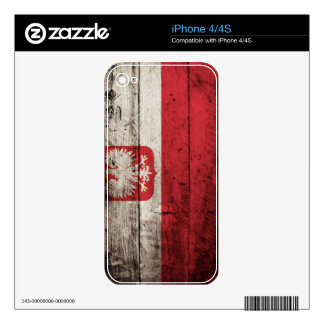 Poland Flag on Old Wood Grain iPhone 4 Decals
