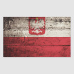 Poland Flag on Old Wood Grain Rectangle Sticker