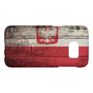 Poland Flag on Old Wood Grain Samsung Galaxy S7 Case
