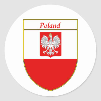 Poland Flag Shield Classic Round Sticker