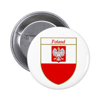 Poland Flag Shield Pinback Button