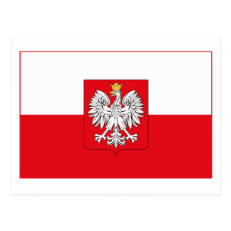 Poland Flag w COA (light) Postcard