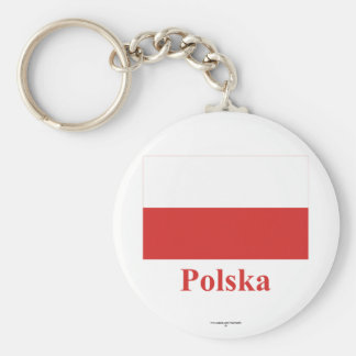 Poland Flag with Name in Polish Keychains
