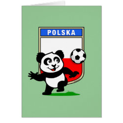 Greeting Card with Poland Football Panda design
