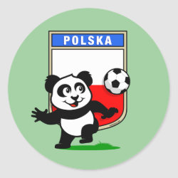 Round Sticker with Poland Football Panda design