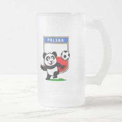 Frosted Glass Mug with Poland Football Panda design