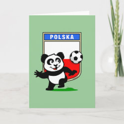 Standard Holiday Card with Poland Football Panda design