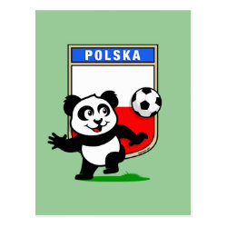 Postcard with Poland Football Panda design