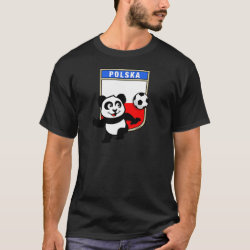 Men's Basic Dark T-Shirt with Poland Football Panda design