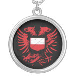 Poland Grunged Round Pendant Necklace