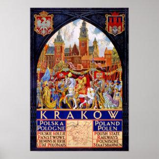 Poland Krakow Vintage Travel Poster Restored