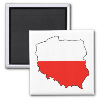 Poland Map-Flag 2 Inch Square Magnet
