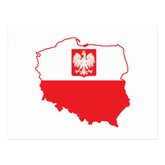 Poland Map In Polish Colors Postcard