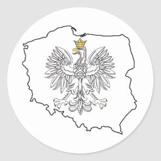 Poland Map With Eagle Classic Round Sticker