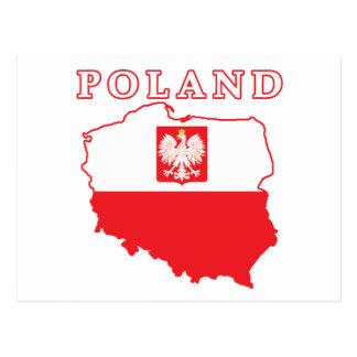 Poland Map With Eagle Postcard