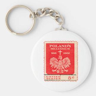 Poland Millennium Stamp Keychain
