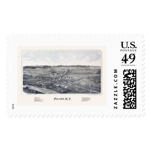 Poland, NY Panoramic Map - 1890 Stamp