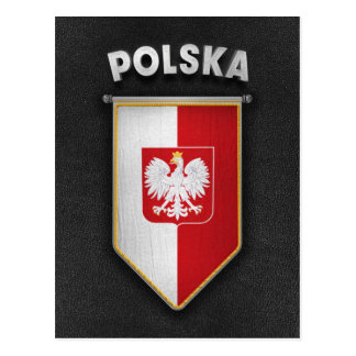 Poland Pennant with high quality leather look Postcard