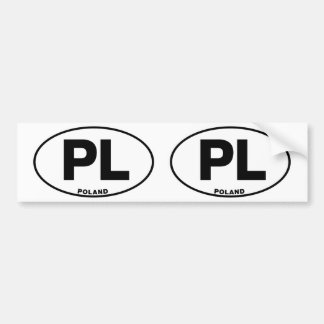 Poland PL Oval ID Identification Code Initials Bumper Sticker