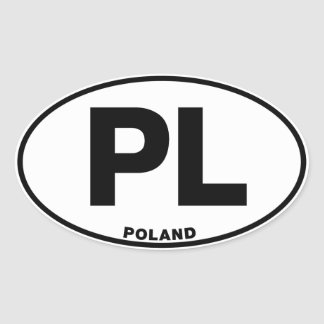 Poland PL Oval ID Identification Code Initials Oval Sticker