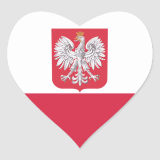 Poland Polish Eagle Crest Heart Sticker