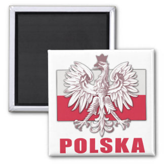 Poland Polska Coat of Arms 2 Inch Square Magnet
