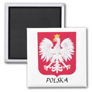 "Poland ""Polska"" Coat of Arms 2 Inch Square Magnet"