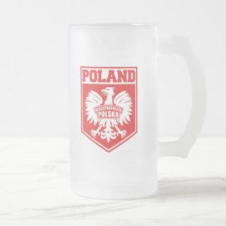 Poland Polska Eagle Shield Emblem 16 Oz Frosted Glass Beer Mug