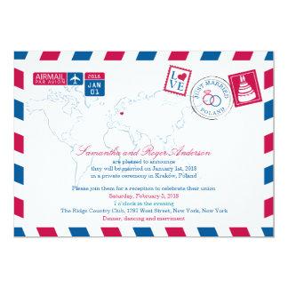 POLAND Red Blue Airmail Post Wedding Card