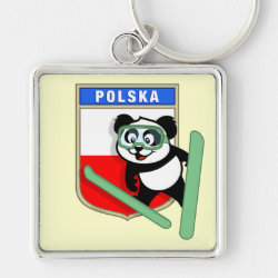 Premium Square Keychain with Polish Ski-jumping Panda design