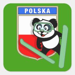 Square Sticker with Polish Ski-jumping Panda design