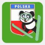 Poland Ski-jumping Panda Square Sticker