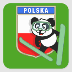 Square Sticker with Polish Ski-jumping Panda design