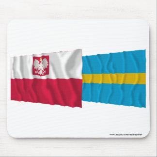 Poland & Śląskie waving flags Mousepads