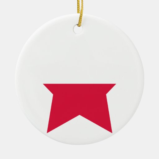 Poland Star Double-Sided Ceramic Round Christmas Ornament
