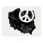 Poland Trendy Peace Sign with polish map Postcard
