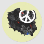 Poland Trendy Peace Sign with polish map Stickers