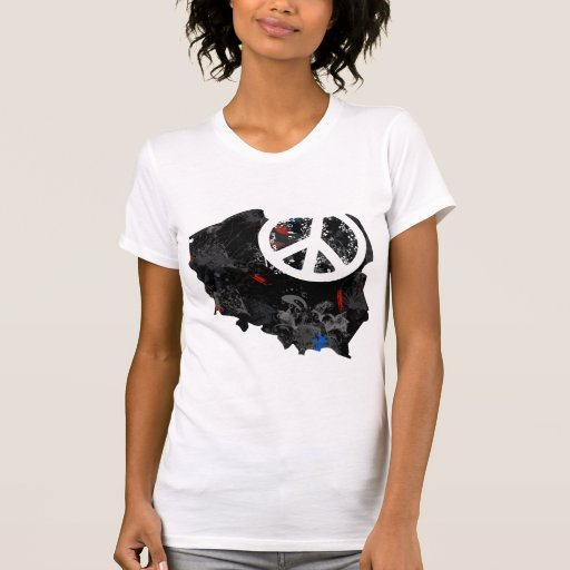 Poland Trendy Peace Sign with polish map T-shirt