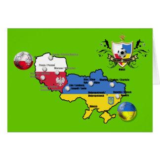 Poland Ukraine 2012 flag map football European Cup Card