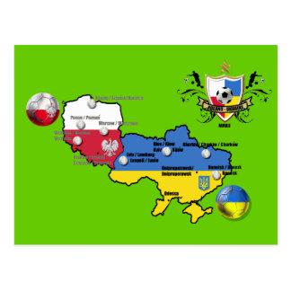 Poland Ukraine 2012 flag map football European Cup Postcard