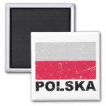 Poland Vintage Flag 2 Inch Square Magnet