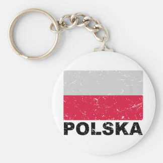 Poland Vintage Flag Keychain