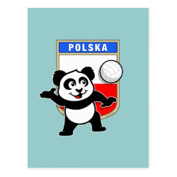 Postcard with Polish Volleyball Panda design