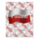 "Poland Waving Flag 4.25"" X 5.5"" Invitation Card"