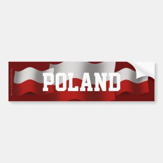 Poland Waving Flag Car Bumper Sticker