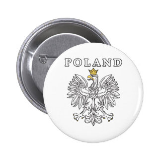 Poland With Polish Eagle Pinback Button