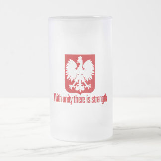 Poland-With unity Strength 16 Oz Frosted Glass Beer Mug