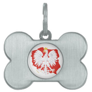 Poland with White Eagle  Dog Bone Tag