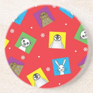 Polar Animal Babies Cute Print - Red Sandstone Coaster